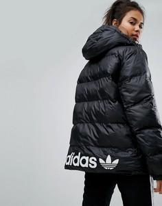 Дутая оверсайз-куртка с капюшоном adidas Originals - Черный