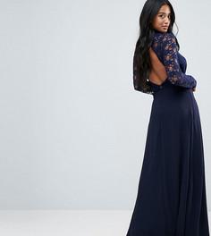 Платье макси с кружевным верхом и открытой спиной John Zack Petite - Темно-синий