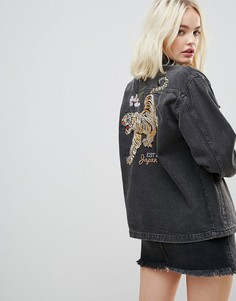 Джинсовая оверсайз-куртка с вышивкой Chorus - Черный