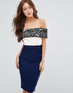 Платье-футляр с кружевом Vesper - Темно-синий