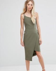 Платье миди на одно плечо Oh My Love - Зеленый