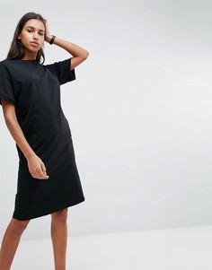 Платье-футболка миди с отворотами на рукавах ASOS Ultimate - Черный