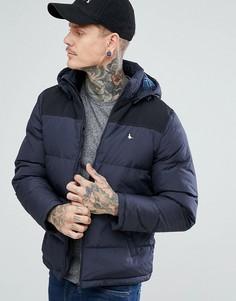 Темно-синяя куртка с контрастной кокеткой и капюшоном Jack Wills Boreham - Темно-синий
