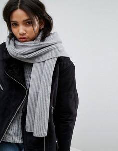 Длинный шарф в рубчик Weekday - Серый