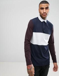 Длинная футболка-поло колор блок с контрастными рукавами ASOS - Темно-синий