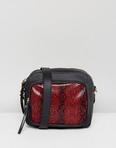 Сумка через плечо со змеиным притом на красной вставке Glamorous - Красный
