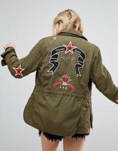 Куртка в стиле милитари с вышивкой и стеганой подкладкой Maison Scotch - Мульти