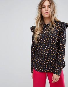 Хлопковая рубашка на пуговицах с оборками Maison Scotch - Мульти