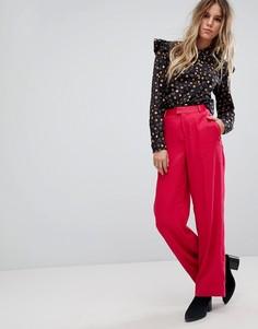 Широкие строгие брюки яркого цвета Maison Scotch - Розовый