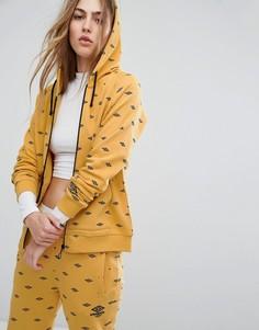 Худи на молнии со сплошным принтом логотипов Umbro - Желтый