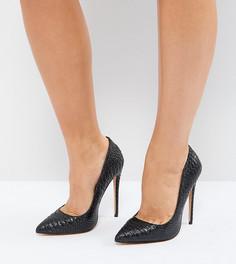 Черные туфли-лодочки для широкой стопы на высоком каблуке Lost Ink Abby - Черный