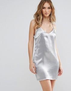 Атласное платье-комбинация Glamorous - Серебряный