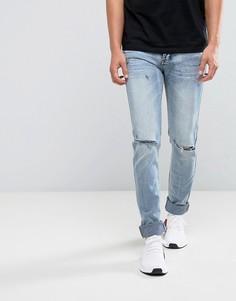 Голубые супероблегающие джинсы Sixth June - Синий