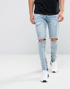Синие состаренные супероблегающие джинсы Sixth June - Синий