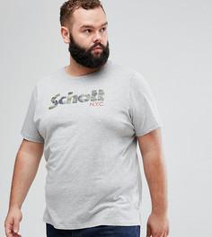 Серая меланжевая футболка с логотипом Schott PLUS - Серый