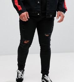 Черные рваные супероблегающие джинсы Sixth June PLUS - Черный