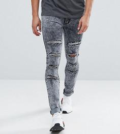 Выбеленные серые джинсы скинни с прорехами Liquor N Poker - Серый
