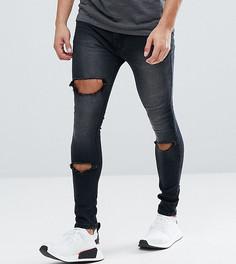 Черные выбеленные джинсы скинни с прорехами Liquor N Poker - Черный