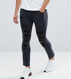 Черные укороченные джинсы скинни с прорехами Liquor N Poker - Черный
