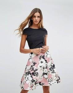Платье 2-в-1 с принтом роз Paper Dolls - Черный