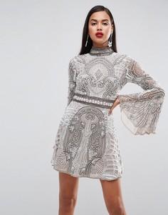 Винтажное декорированное платье мини с рукавами клеш ASOS Red Carpet - Серый