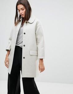 Пальто из неопрена с добавлением шерсти YMC - Кремовый