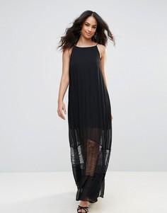 Полупрозрачное платье макси с кружевной отделкой BCBG - Черный