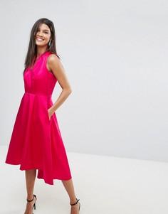 Атласное короткое приталенное платье с удлиненным краем Closet - Розовый