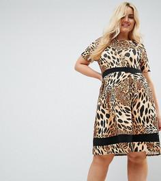 Короткое приталенное платье с леопардовым принтом и контрастной полосой Praslin - Коричневый