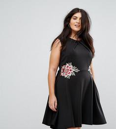 Приталенное платье с цветочной вышивкой Praslin - Черный