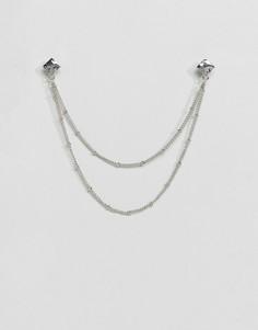 Серебристые уголки для воротника с цепочкой DesignB эксклюзивно для ASOS - Серебряный