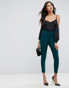 Облегающие брюки с завышенной талией ASOS - Зеленый