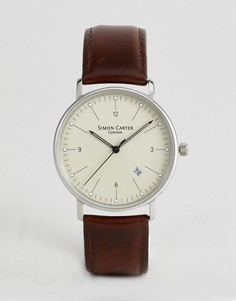 Часы с коричневым кожаным ремешком Simon Carter WT2201 - Коричневый