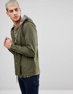Хлопковая куртка с капюшоном цвета хаки Pretty Green Sevenoaks - Зеленый