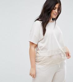 Пижамная футболка с кружевной отделкой New Look Curve - Бежевый