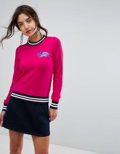 Трикотажный джемпер в спортивном стиле с логотипом Love Moschino - Розовый