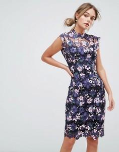 Платье миди из кроше с высоким воротом и цветочным принтом Paper Dolls - Мульти