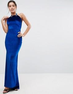 Бархатное платье макси с отделкой на спине ASOS - Темно-синий