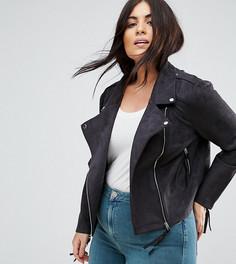 Байкерская куртка из искусственной замши Missguided Plus - Черный