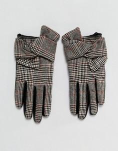Перчатки для вождения в клетку с кожаными вставками River Island - Мульти