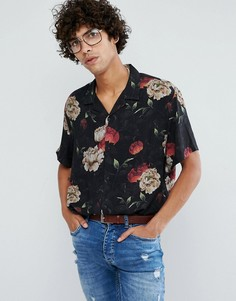Вискозная оверсайз-рубашка с цветочным принтом ASOS - Черный