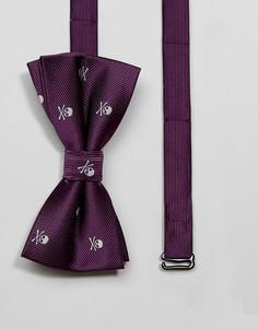 Галстук-бабочка с черепами 7X HALLOWEEN - Фиолетовый