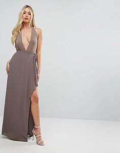Платье макси с глубоким вырезом и оборкой BCBGMAXAZRIA - Коричневый