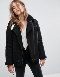 Куртка из искусственной замши и шнуровкой на рукавах Moon River - Черный