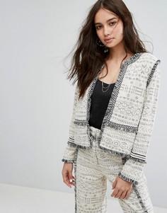 Пиджак букле с бахромой Moon River - Белый