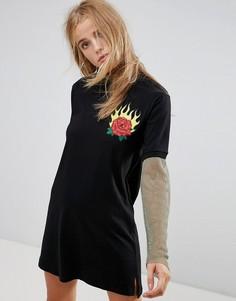 Платье с вышитой розой и сетчатым нижним слоем The Ragged Proest Cure - Черный