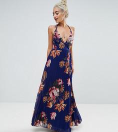Платье макси со складками и цветочным принтом ASOS PETITE - Темно-синий