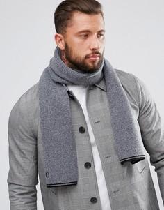 Темно-серый шарф с добавлением овечьей шерсти и отделкой Fred Perry - Серый