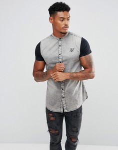 Облегающая джинсовая рубашка с трикотажными рукавами SikSilk - Серый