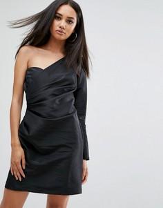 Платье мини на одно плечо в стиле 80-х Missguided - Черный